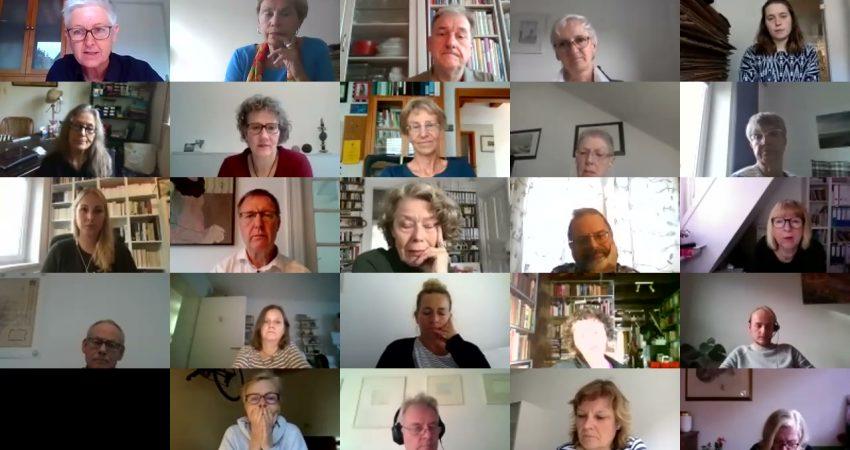 Age friendly City Videokonferenz Überblick auf 25 Teilnehmer uf dem Übersichtsbildschirm